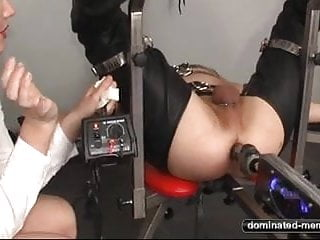 Pain femdom Anal fuck machine - pain for his ass