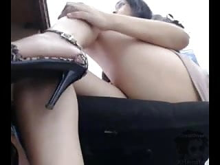 Working her ass At work with a dildo up her ass