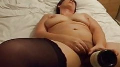 Chubby fucking herself with a bottle