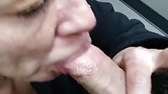 Milf sucks cock in the local restroom
