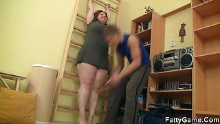 Fitness instructor fucks big booty fatty from behind