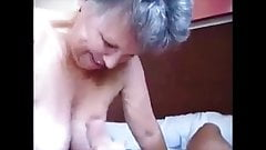 Granny gives blowjob and handjob with cumshot on her big breasts