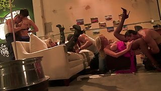 Stunning girls fuck some horny dudes during an orgy
