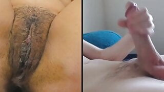 Mature hairy cunt and young big dick masturbate on webcam