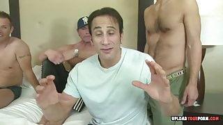Slutty babe got gangbanged by three dudes hard