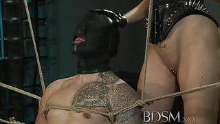 BDSM XXX Slave boy gets tied up and receives hardcore sex