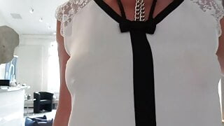 Juli's shirt boob show