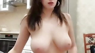 Chinese Webcam, Rich dude has threesome with sexy Russian bitch with huge tits