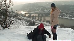 Blonde wife warms stranger's cock in the snow
