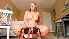 Curvy milf gets creamy cumming on bouncy dildo