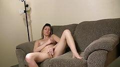 Frisky brunette gets playfull with her pussy