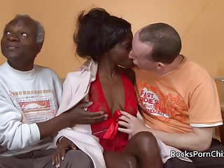 Very old lady phone sex Three guys get very hands on with black lady