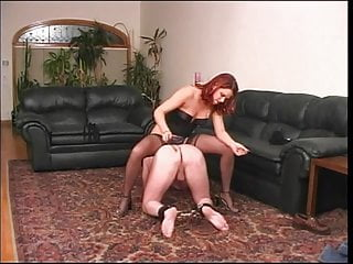 Sexy redhead wearing button down collar - Sexy hottie collars and blindfolds her slave