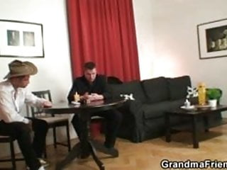 Comics strip on getting old Granny plays strip poker and gets fucked by two guys