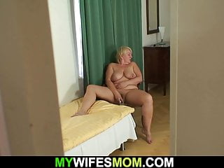 Mother saw his cock and watched Big tits mother in law rides his cock