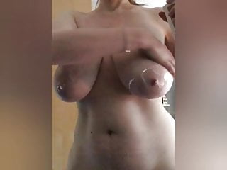 Black oil ass bounce Big tits play, oiled heavy hangers bouncing wet boobs