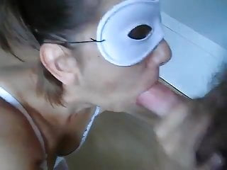 Strippper wife blowjob - Masked wife blowjob and cumshot