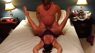 Sexually charged MILF in purple nightie has sensual fuck
