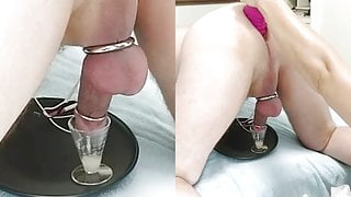 Chastity husband's orgasmless milking