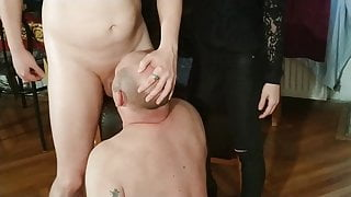 Dominatrix helps slave to get face fucked pt2 HD