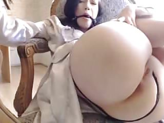 Hot pale lesbian Sexy pale brunette hot ass pussy spanking dildo bll gagg