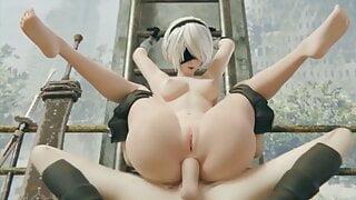 3D Compilation: 2B NierAutomata Yorha Uncensored Hentai