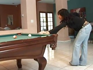 Showing off wifes breast Showing off their pool table skillz