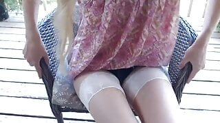 Sexy girl outdoors playing on cam