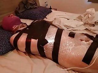 Shemale saran wrap bondage Plastic wrap bondage with a fairy