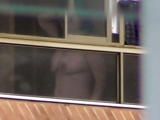 Amateur milf nude Window voyeur milf nude tits
