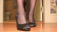 Black Nylons in Slingback Heels