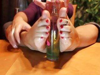 Baby bottle fetish Oil bottle footjob