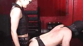 Mistress fucks slave with strapon 4