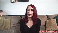 Bigtits mature tranny facialized by producer