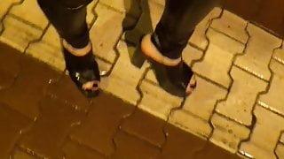 wet stroll in extreme platform mules