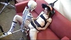 Witch fucking skeleton for Halloween