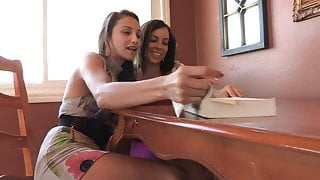 Hungry young brunette licks her girlfriend's tight ass