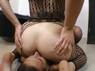 Dominant female humiliates and spanks date - Female domination total humiliation -spit facesit fart..