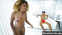Cute ebony teenie wants to fuck her way to porn star level