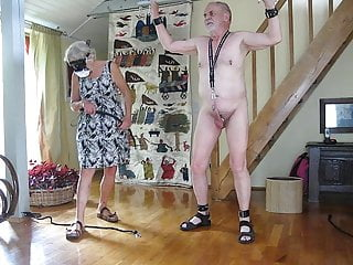 Cock and ball whips Cbt with sigle tail whip on cock and balls by my lady