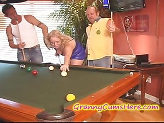 Vintage pool halls Nasty granny gets creamed at pool hall