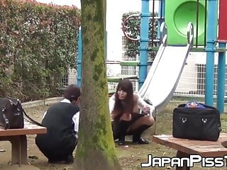 Transexuals peeing in public - Gorgeous japanese babes peeing in schoolbags in public