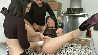 FFM Horny brunette milf gets analized creamed and fist fucke