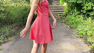Pretty woman went for a walk without panties