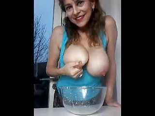 Breast fetish milk spraying story Horny mommy - udder milk spraying 4