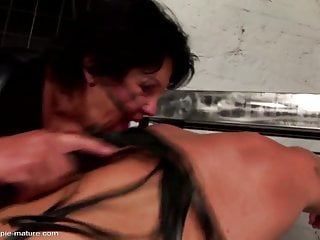 Erotic dungeon - Granny fucked and gets creampie in bdsm dungeon
