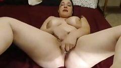 Slut Horny Fat Chubby Teen GF Cumming on her bed