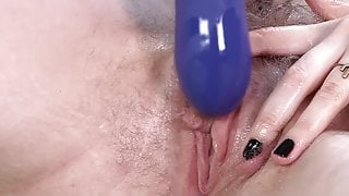 Big vibrator on Apricot Pitts' clit to orgasm
