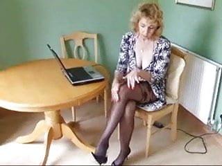 Pantyhose stripping Mature body stocking pantyhose strip