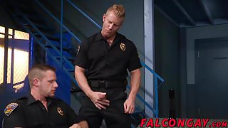 Muscle hunk prison guard anal action during work